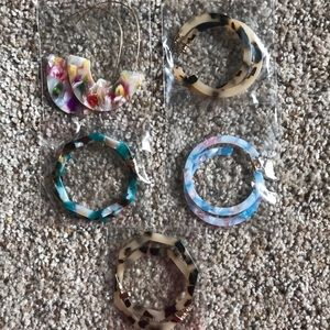 Jewelry - New in packaging 5 pairs acrylic earrings